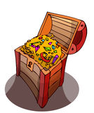 Opened Treasure Chest full of Gold. Royalty Free Stock Photo