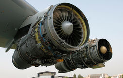 OPENED TWO AIRCRAFT ENGINE stock photos