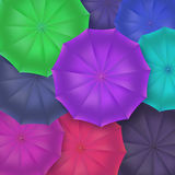 Opened umbrellas top view, closeup. Royalty Free Stock Images