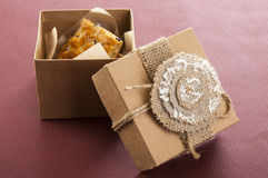Opened vintage box with cookies Royalty Free Stock Photography