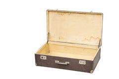 Opened vintage suitcase on white Stock Photo