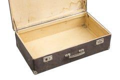 Opened vintage suitcase on white Stock Image