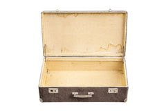 Opened vintage suitcase on white Royalty Free Stock Photography