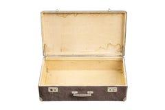 Opened vintage suitcase on white Royalty Free Stock Photography