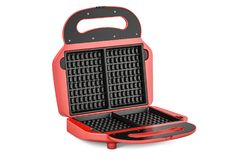 Opened waffle iron closeup, 3D rendering Royalty Free Stock Photography