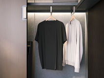 Opened wardrobe with empty T-shirts. 3d rendering Royalty Free Stock Image