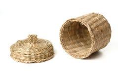 Opened wattled basket isolated on white Stock Images