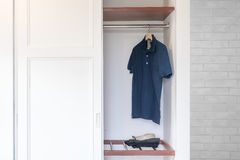 Opened White Built-in wardrobe Stock Photography