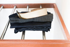 Opened White Built-in wardrobe Royalty Free Stock Photos