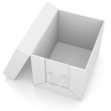 Opened white cardboard package box Stock Photo