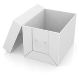 Opened white cardboard package box Stock Photos