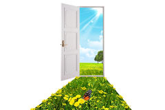 Opened white door Royalty Free Stock Photography