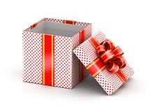 Opened white doted gift box Royalty Free Stock Image