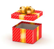 Opened white gift box. Opened red gift box with gold ribbons on white background Royalty Free Stock Images