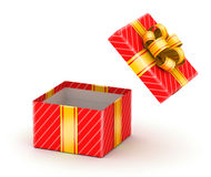 Opened white gift box. Opened red gift box with gold ribbons on white background Stock Photos