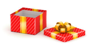 Opened white gift box. Opened red gift box with gold ribbons on white background Royalty Free Stock Image
