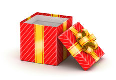 Opened white gift box. Opened red gift box with gold ribbons on white background Stock Photo