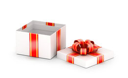 Opened white gift box Royalty Free Stock Photo