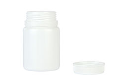 Opened White Pills Container - Isolated Royalty Free Stock Photography