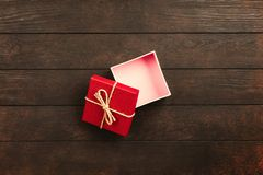 Opened White and Red Gift Box stock photography