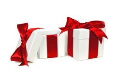 Opened white and red gift boxes Stock Image