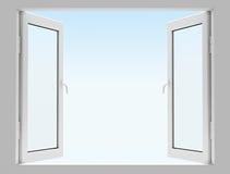 Opened white window Stock Images