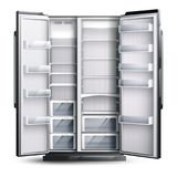 Opened Wider Empty Refrigerator. Refrigerator organization monochrome design concept with opened empty wider fridge on white background in realistic style vector stock illustration