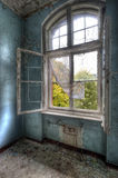 Opened window. Old window in an old hospital Royalty Free Stock Images