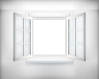 Opened window. Opened white window. Vector illustration vector illustration