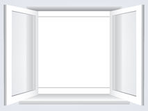 Opened window. Room, opened window with empty space in the middle stock illustration