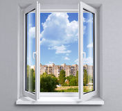 Opened window Stock Photo