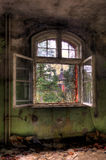 Opened window. Old window on ruin house Royalty Free Stock Image