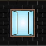 Opened window in black brick facade  Royalty Free Stock Image