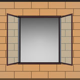 Opened window in brick facade  drawing Stock Photo