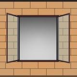 Opened window in brick facade  drawing Stock Photo