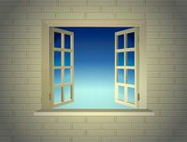 Opened window at brick wall background Royalty Free Stock Images