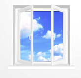 Opened window and clouds on blue sky Stock Photography