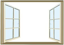 Opened window with empty space for text Royalty Free Stock Photos