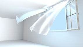 Opened windows, the pure air enters the room. 3D Rendering Royalty Free Stock Image