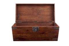 Opened wooden chest frontal view Royalty Free Stock Images