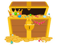 Opened wooden chest with treasures Stock Photo