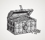 Opened wooden chest with treasures. Vintage sketch vector illustration Royalty Free Stock Photo