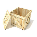 Opened wooden crate. Side view. 3D render Royalty Free Stock Photo
