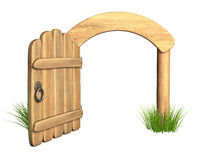 Opened wooden door Stock Photo