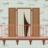 Opened Wooden Door With Balcony. Vector Illustration Royalty Free Stock Images