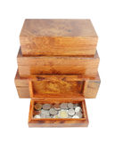 Opened wooden moneybox with coins Stock Photos