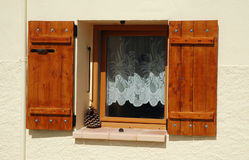 Opened wooden window shutters Royalty Free Stock Images