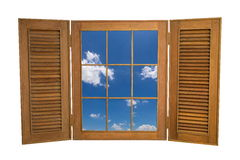 Opened Wooden Window to View of Blue Sky on White Backg Royalty Free Stock Photo