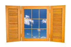 Opened Wooden Window to View of Blue Sky on White Backg Royalty Free Stock Photos