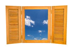 Opened Wooden Window to View of Blue Sky on White Backg Stock Images